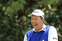 Brandon Stone (RSA) caddy Alan waits at the 14th tee during Thursday's Round 1 of the 2017 PGA Championship held at Quail Hollow Golf Club, Charlotte, North Carolina, USA. 10th August 2017.<br /> Picture: Eoin Clarke | Golffile<br /> <br /> <br /> All photos usage must carry mandatory copyright credit (&copy; Golffile | Eoin Clarke)