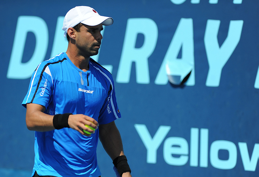Alejandro Falla (COL) in action during his defeat by Ernests Gulbis (LAT) in their first round match today -  - Ernests Gulbis (LAT) def Alejandro Falla (COL) 6-4 6-1..ATP 250 Tennis - 2012 Delray Beach International Tennis Championships - Day 2 - Tuesday 28 February 2012 - Delray Beach Stadium & Tennis Center - Delray Beach - Florida - USA..