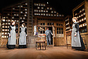 London, UK. 13.06.2016. HOBSON's CHOICE, by Harold Brighouse, opens at the Vaudeville theatre in the West End. Directed by Jonathan Church, with lighting design by Tim Mitchell and set & costume design by Simon Higlett. Picture shows: Naomi Frederick (Maggie Hobson), Gabrielle Dempsey (Vicky Hobson), Martin shaw (Henry Horatio Hobson), Florence Hall (Alice Hobson). Photograph © Jane Hobson.
