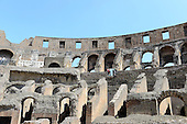 Interior of the Colosseum, also known as the Flavian Amphitheatre, in Rome, Italy on Friday, May 25, 2012.  This photo was taken from the restored floor of the structure..Credit: Ron Sachs / CNP