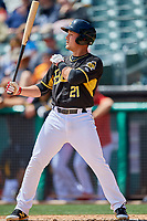 Matt Thaiss (21) of the Salt Lake Bees bats against the Albuquerque Isotopes at Smith's Ballpark on April 28, 2019 in Salt Lake City, Utah. The Bees defeated the Isotopes 14-8. (Stephen Smith/Four Seam Images)