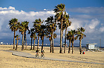 Palm Trees and bike path at Santa Monica Beach