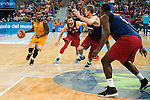 Herbalife Gran Canaria's player Bo McCalebb and FC Barcelona Lassa player Pau Ribas, Justin Doellman and Joey Dorsey during the final of Supercopa of Liga Endesa Madrid. September 24, Spain. 2016. (ALTERPHOTOS/BorjaB.Hojas)