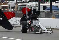 Aug. 3, 2013; Kent, WA, USA: NHRA top alcohol dragster driver Shawn Cowie during qualifying for the Northwest Nationals at Pacific Raceways. Mandatory Credit: Mark J. Rebilas-USA TODAY Sports