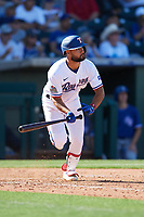 Isiah Kiner-Falefa (9) of the Texas Rangers during a Cactus League Spring Training game against the Los Angeles Dodgers on March 8, 2020 at Surprise Stadium in Surprise, Arizona. Rangers defeated the Dodgers 9-8. (Tracy Proffitt/Four Seam Images)