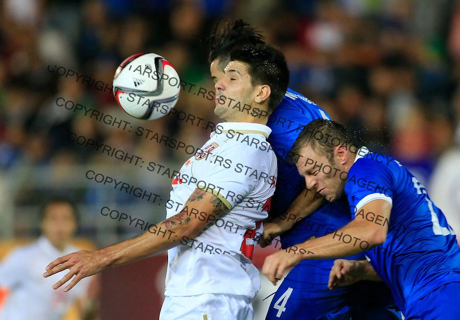 Fudbal<br /> Prijateljski mec-Friendly match<br /> Srbija v Grcka<br /> Aleksandar Mitrovic (L)<br /> Chania, 18.11.2014.<br /> foto: Srdjan Stevanovic/Starsportphoto &copy;