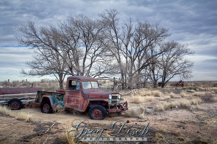 Abandoned truck in the Ghost Town of Glenrio Texas on Route 66.
