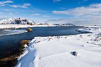 Snow covered coastline near Stamsund, Vestvågøy, Lofoten Islands, Norway