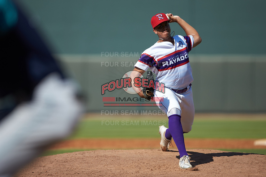 Winston-Salem Rayados relief pitcher Andrew Perez (1) in action against the Lynchburg Hillcats at BB&T Ballpark on June 23, 2019 in Winston-Salem, North Carolina. The Hillcats defeated the Rayados 12-9 in 11 innings. (Brian Westerholt/Four Seam Images)