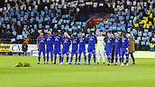 2nd February 2019, Cardiff City Stadium, Cardiff, Wales; EPL Premier League football, Cardiff City versus AFC Bournemouth; Cardiff City players observe a moment silence in memory of Emiliano Sala
