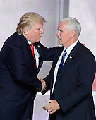 Donald J. Trump and Governor Mike Pence (Republican of Indiana) after Trump delivered his acceptance speech as the GOP candidate for President of the United States at the 2016 Republican National Convention held at the Quicken Loans Arena in Cleveland, Ohio on Thursday, July 21, 2016.<br /> Credit: Ron Sachs / CNP<br /> (RESTRICTION: NO New York or New Jersey Newspapers or newspapers within a 75 mile radius of New York City)