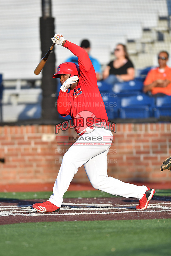 Johnson City Cardinals Malcom Nunez (54) swings at a pitch during game one of the Appalachian League Championship Series against the Burlington Royals at TVA Credit Union Ballpark on September 2, 2019 in Johnson City, Tennessee. The Royals defeated the Cardinals 9-2 to take the series lead 1-0. (Tony Farlow/Four Seam Images)