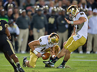 Kicker Kyle Brindza (27) puts Notre Dame on the board with a field goal in the second quarter.