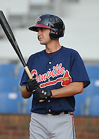Infielder Kirk Walker (5) of the Danville Braves, Appalachian League affiliate of the Atlanta Braves, prior to a game against the Johnson City Cardinals on August 19, 2011, at Howard Johnson Field in Johnson City, Tennessee. Danville defeated Johnson City, 5-4, in 16 innings. (Tom Priddy/Four Seam Images)