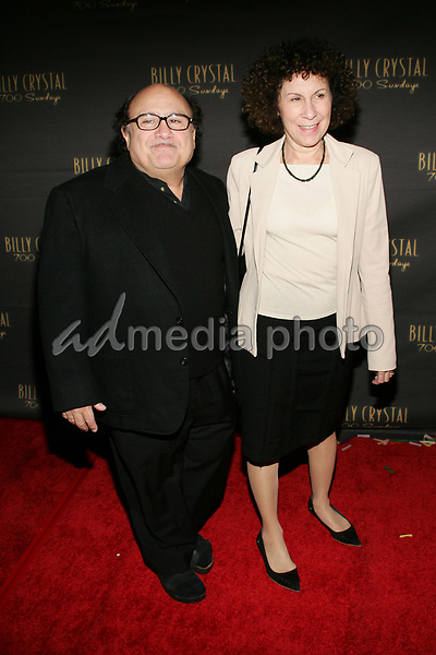 "12 January 2006 - Beverly Hills, California - Danny DeVito  and Rhea Perlman. at the Los Angeles Opening Night of the  Tony Award Winning Broadway Show ""Billy Crystal 700 Sundays""  at  the Wilshire Theatrel. Photo Credit: William Scott/AdMedia"