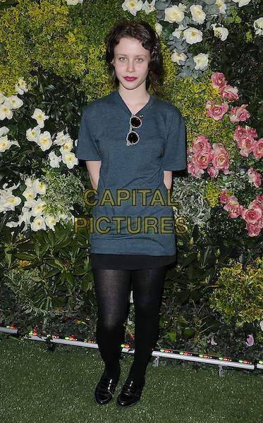 Billie JD Porter .The John Lewis Beauty Hall launch party, John Lewis department store, Oxford St., London, England..May 8th, 2012.full length blue dress black tights.CAP/CAN.©Can Nguyen/Capital Pictures.