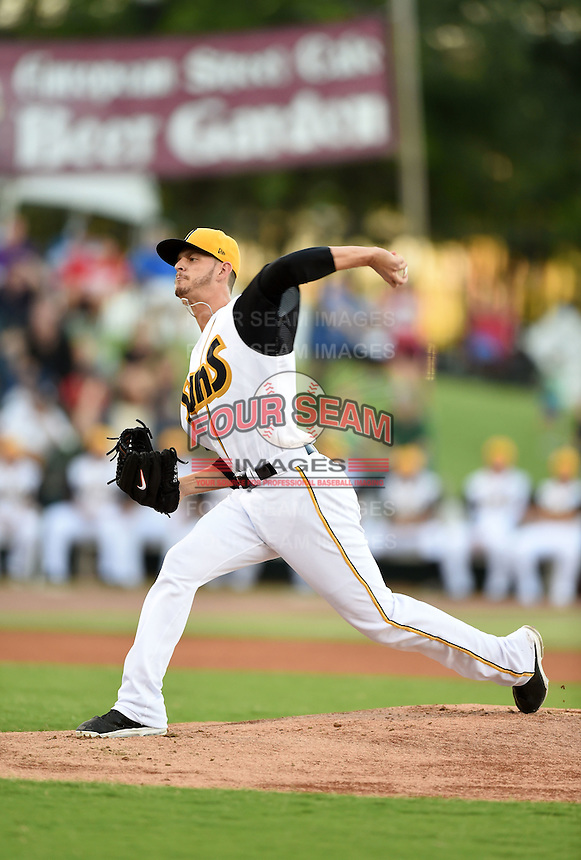 Jacksonville Suns starting pitcher Justin Nicolino (22) delivers a pitch during game three of the Southern League Championship Series against the Chattanooga Lookouts on September 12, 2014 at Bragan Field in Jacksonville, Florida.  Jacksonville defeated Chattanooga 6-1 to sweep three games to none.  (Mike Janes/Four Seam Images)