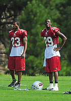Jul 31, 2009; Flagstaff, AZ, USA; Arizona Cardinals cornerbacks (23) Wilrey Fontenot and (29) Dominique Rodgers-Cromartie during training camp on the campus of Northern Arizona University. Mandatory Credit: Mark J. Rebilas-