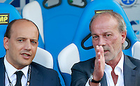 "Calcio, Serie A: Empoli vs Roma. Empoli, stadio ""Carlo Castellani"" 13 settembre 2014. <br /> AS Roma sporting director Walter Sabatini talks to general director Mauro Baldissoni, left, prior to the start of the Italian Serie A football match between Empoli and AS Roma at Empoli's ""Carlo Castellani"" stadium, 13 September 2014.<br /> UPDATE IMAGES PRESS/Isabella Bonotto"