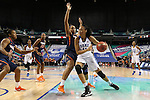 03 March 2016: Duke's Azura Stevens (11) and Virginia's Lauren Moses (behind). The Duke University Blue Devils played the University of Virginia Cavaliers at the Greensboro Coliseum in Greensboro, North Carolina in the Atlantic Coast Conference Women's Basketball tournament and a 2015-16 NCAA Division I Women's Basketball game. Duke won the game 57-53.
