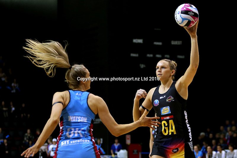 Jo Harten (R) of the Magic attempts to pass the ball over Jane Watson of the Steel during the ANZ Championship netball match between the Southern Steel and Waikato Bay of Plenty Magic, ILT Stadium Southland, Invercargill, Sunday, June 19, 2016. Photo: Dianne Manson / www.photosport.nz