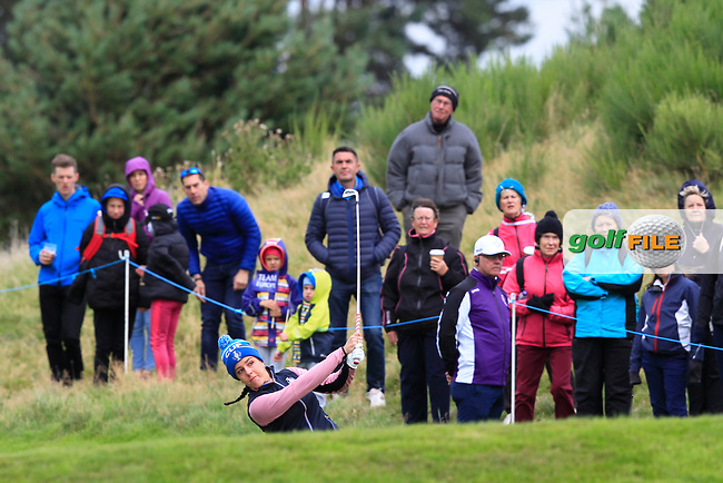Georgia Hall of Team Europe on the 2nd during Day 2 Fourball at the Solheim Cup 2019, Gleneagles Golf CLub, Auchterarder, Perthshire, Scotland. 14/09/2019.<br /> Picture Thos Caffrey / Golffile.ie<br /> <br /> All photo usage must carry mandatory copyright credit (© Golffile | Thos Caffrey)