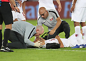February 1st 2019; Adu Dhabi, United Arab Emirates; Asian Cup football final, Japan versus Qatar; Boualem Khoukhi of Qatar reacts in pain after injury during the final match between Japan and Qatar