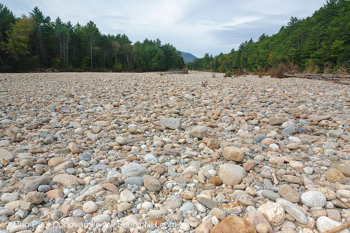 Flash floods from Tropical Storm Irene in 2011 rerouted sections of the Saco River in the New Hampshire White Mountains. This image shows how a section of the Saco River in Bartlett looks today, after Tropical Storm Irene. This storm caused destruction along the East Coast of the United States, and the White Mountain National Forest was officially closed during the storm.