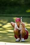 STILLWATER, OK - MAY 23: Kristen Gillman of Alabama checks a line on the green during the Division I Women's Golf Team Match Play Championship held at the Karsten Creek Golf Club on May 23, 2018 in Stillwater, Oklahoma. (Photo by Shane Bevel/NCAA Photos via Getty Images)