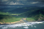 Aerial over the mouth of the Bear River, northern section of the Lost Coast, Humboldt County, CALIFORNIA