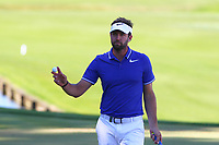 Scott Jamieson celebrates his putt at the 18th green during the BMW PGA Golf Championship at Wentworth Golf Course, Wentworth Drive, Virginia Water, England on 26 May 2017. Photo by Steve McCarthy/PRiME Media Images.
