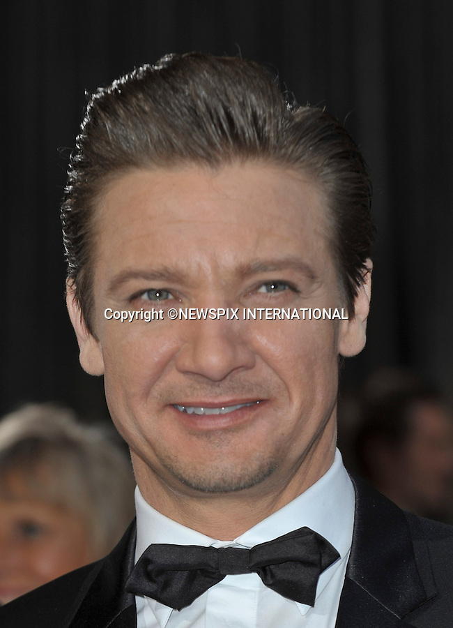 "JEREMY RENNER..Red Carpet arrival for the 85th Annual Academy Awards, Dolby Theatre, Hollywood, Los Angeles_23/02/2013.Mandatory Photo Credit: ©Dias/Newspix International..**ALL FEES PAYABLE TO: ""NEWSPIX INTERNATIONAL""**..PHOTO CREDIT MANDATORY!!: NEWSPIX INTERNATIONAL(Failure to credit will incur a surcharge of 100% of reproduction fees)..IMMEDIATE CONFIRMATION OF USAGE REQUIRED:.Newspix International, 31 Chinnery Hill, Bishop's Stortford, ENGLAND CM23 3PS.Tel:+441279 324672  ; Fax: +441279656877.Mobile:  0777568 1153.e-mail: info@newspixinternational.co.uk"