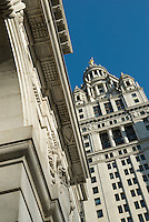 AVAILABLE FROM JEFF FOR EDITORIAL LICENSING.<br /> <br /> Municipal Government Architecture in Lower Manhattan's Civic Center, New York City, New York State, USA.<br /> <br /> The Surrogate's Court Building is on the left and the Municipal Building is on the right.