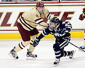 Brian Dumoulin (BC - 2), Stevie Moses (UNH - 22) - The Boston College Eagles defeated the visiting University of New Hampshire Wildcats 4-3 on Friday, January 27, 2012, in the first game of a back-to-back home and home at Kelley Rink/Conte Forum in Chestnut Hill, Massachusetts.