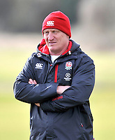 Guildford, England. England Women's Sevens Head Coach Simon Middleton looks on during England Women Sevens in training for Sevens World Series in round three in Atlanta, USA. Surrey Sports Park on March 5, 2015 in Guildford, England.