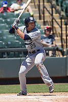 New Orleans Zephyrs outfielder Jake Marisnick #28 at bat during the Pacific Coast League baseball game against the Round Rock Express on May 5, 2014 at the Dell Diamond in Round Rock, Texas. The Zephyrs defeated the Express 13-4. (Andrew Woolley/Four Seam Images)