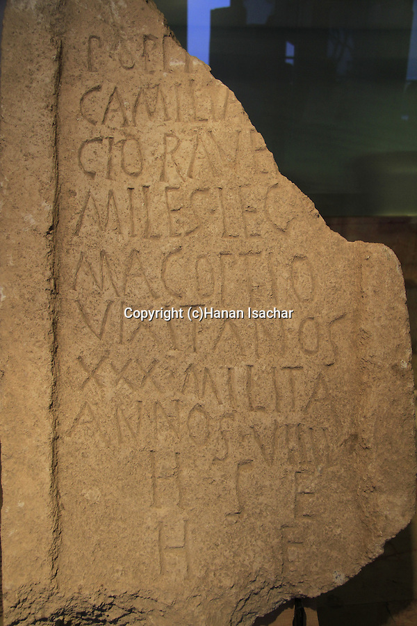Tombstone of a Roman officer from Emmaus, 68-70 BC, at the Hecht Museum, the University of Haifa