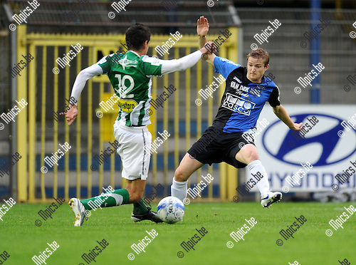 2011-08-17 / Voetbal / seizoen 2011-2012 / Rupel-Boom - Racing Mechelen / Spinelli met Jeroen Mertens van Rupel-Boom (r)..Foto: mpics