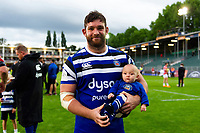 Nathan Catt of Bath Rugby with his newborn baby. Gallagher Premiership match, between Bath Rugby and Gloucester Rugby on September 8, 2018 at the Recreation Ground in Bath, England. Photo by: Patrick Khachfe / Onside Images