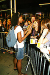 """One Life To Live's Renee Elise Goldsberry stars in Broadway's Rent as """"Mimi"""" in Rent signs for fans on August 22, 2008 at the Nederlander Theatre, NYC. (Photo by Sue Coflin/Max Photos)"""
