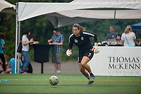 Seattle, Washington - Saturday, July 2nd, 2016: Seattle Reign FC goalkeeper Haley Kopmeyer (28) warms up prior to  a regular season National Women's Soccer League (NWSL) match between the Seattle Reign FC and the Boston Breakers at Memorial Stadium. Seattle won 2-0.