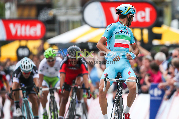 Picture by Alex Whitehead/SWpix.com - 06/07/2014 - Cycling - Tour de France 2014: Stage 2, York to Sheffield - Yorkshire, England - ProTeam Astana's Vincenzo Nibali celebrates winning stage two in Sheffield.