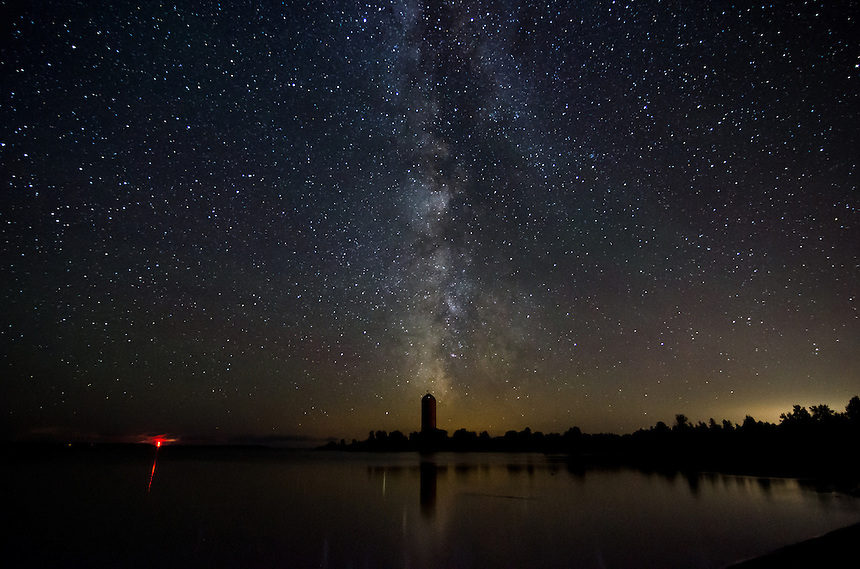 A starry night and an awesome view of the Milky Way over Lake Michigan, Big Bay de Noc. Nahma, MI