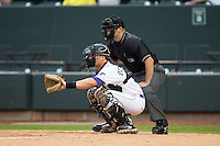 Winston-Salem Dash catcher Sean O'Connell (35) sets a target as home plate umpire Tucker Beneville looks on during the Carolina League game against the Myrtle Beach Pelicans at BB&T Ballpark on April 18, 2015 in Winston-Salem, North Carolina.  The Pelicans defeated the Dash 8-4 in game two of a double-header.  (Brian Westerholt/Four Seam Images)