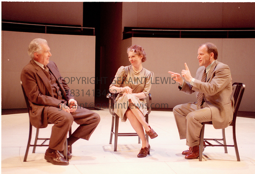 Copenhagen by Michael Frayn,directed by Michael Blakemore. With David Burke[older],Mathew Marsh,Sarah Kestelman. Performed at the National Theatre. CREDIT Geraint Lewis