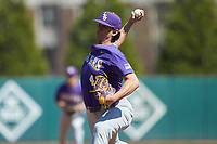 LSU Tigers relief pitcher Todd Peterson (43) in action against the Georgia Bulldogs at Foley Field on March 23, 2019 in Athens, Georgia. The Bulldogs defeated the Tigers 2-0. (Brian Westerholt/Four Seam Images)