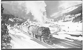 D&amp;RGW 2-8-8-2 #3617 with a long freight train at Mitchell, just north of the Tennessee Pass summit.<br /> D&amp;RGW  Mitchell, CO  Taken by Perry, Otto C. - 4/17/1938