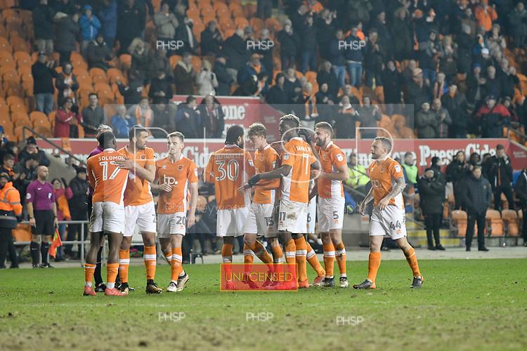 10/04/2018 Sky Bet League 1 Blackpool v Northampton Town<br />Blackpools Sean Longstaff celebrates after scoring Blackpool&rsquo;s second goal  goal