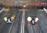 Feb 21, 2020; Chandler, Arizona, USA; NHRA top fuel driver Steve Torrence (right) alongside Justin Ashley during qualifying for the Arizona Nationals at Wild Horse Pass Motorsports Park. Mandatory Credit: Mark J. Rebilas-USA TODAY Sports