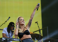 RITA ORA performs to the crowd during The New Look Wireless Festival at Finsbury Park, London, England on 28 June 2015. Photo by Andy Rowland.